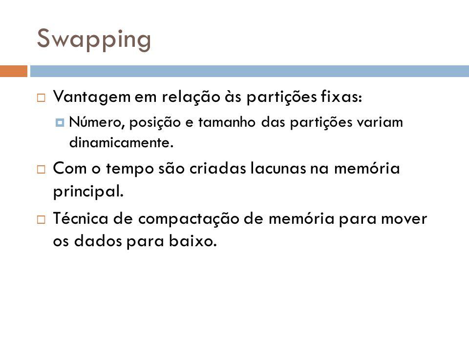 Swapping Vantagem em relação às partições fixas: Número, posição e tamanho das partições variam dinamicamente. Com o tempo são criadas lacunas na memó