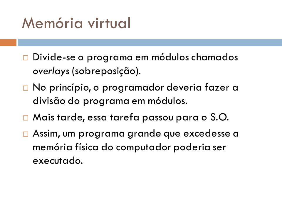 Memória virtual Divide-se o programa em módulos chamados overlays (sobreposição). No princípio, o programador deveria fazer a divisão do programa em m
