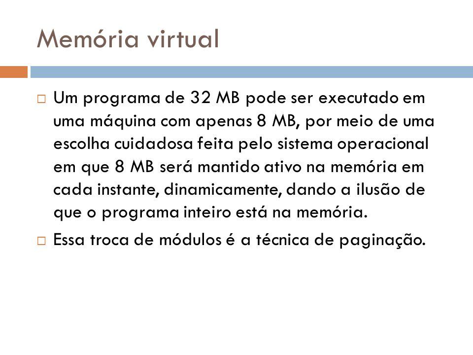 Memória virtual Um programa de 32 MB pode ser executado em uma máquina com apenas 8 MB, por meio de uma escolha cuidadosa feita pelo sistema operacion