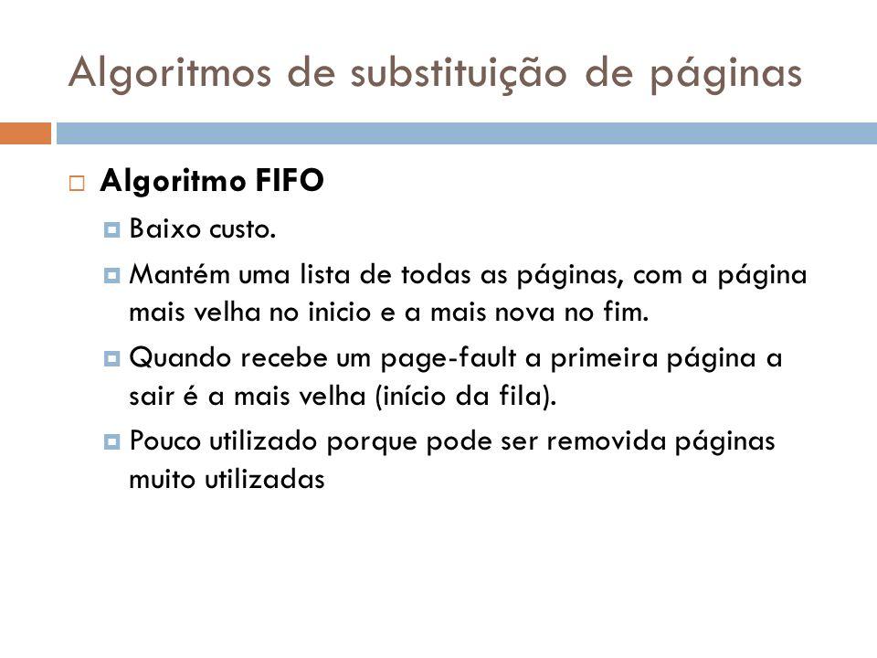 Algoritmos de substituição de páginas Algoritmo FIFO Baixo custo. Mantém uma lista de todas as páginas, com a página mais velha no inicio e a mais nov