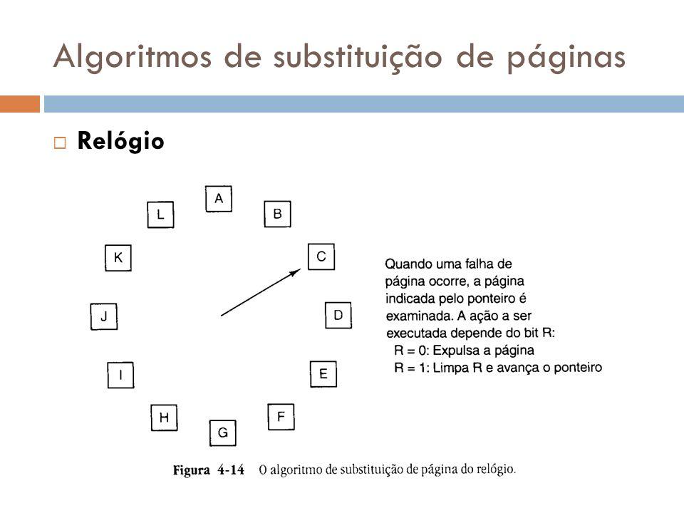 Algoritmos de substituição de páginas Relógio