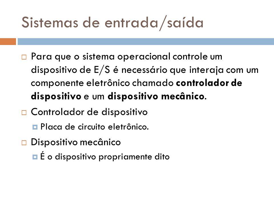 Para que o sistema operacional controle um dispositivo de E/S é necessário que interaja com um componente eletrônico chamado controlador de dispositiv