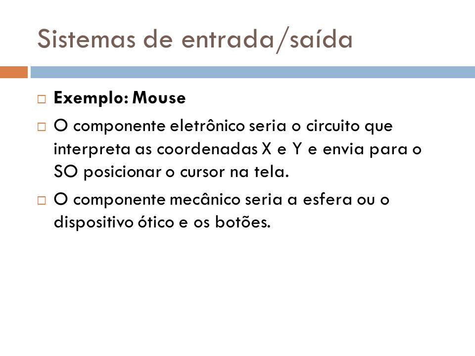 Sistemas de entrada/saída Exemplo: Mouse O componente eletrônico seria o circuito que interpreta as coordenadas X e Y e envia para o SO posicionar o c