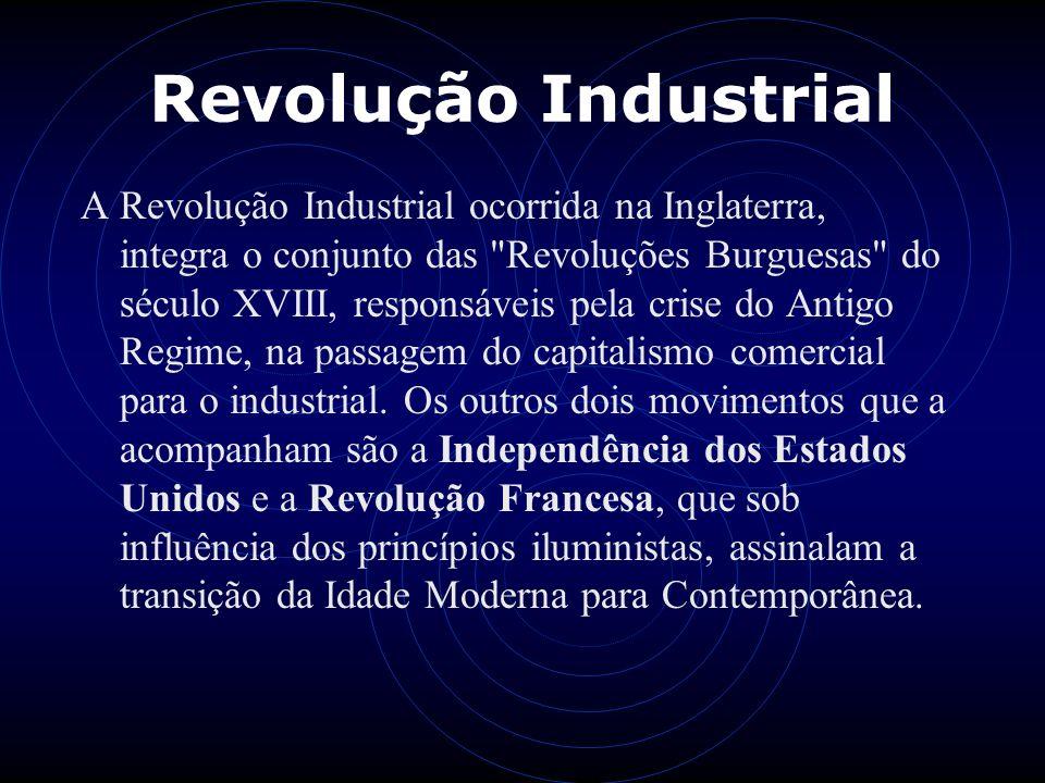 Revolução Industrial A Revolução Industrial ocorrida na Inglaterra, integra o conjunto das
