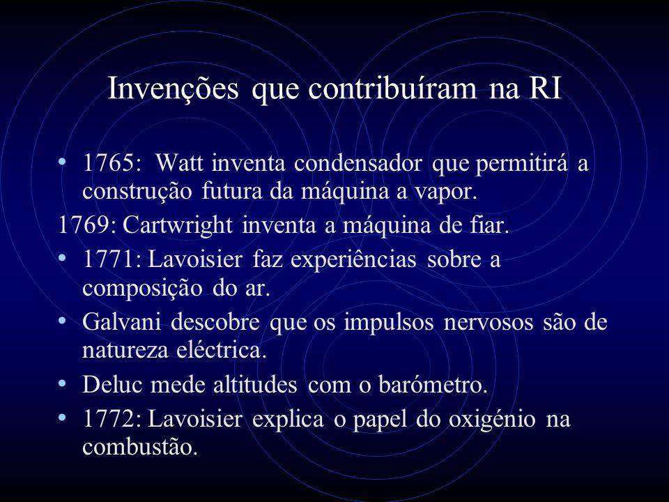Invenções que contribuíram na RI 1765: Watt inventa condensador que permitirá a construção futura da máquina a vapor. 1769: Cartwright inventa a máqui