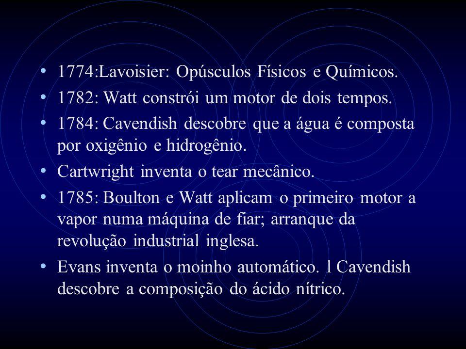 1774:Lavoisier: Opúsculos Físicos e Químicos. 1782: Watt constrói um motor de dois tempos. 1784: Cavendish descobre que a água é composta por oxigênio