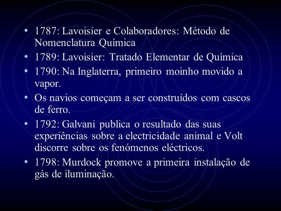 1787: Lavoisier e Colaboradores: Método de Nomenclatura Química 1789: Lavoisier: Tratado Elementar de Química 1790: Na Inglaterra, primeiro moinho mov