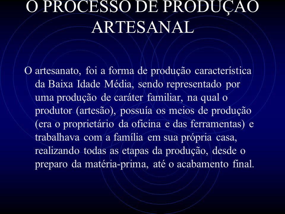 O PROCESSO DE PRODUÇÃO ARTESANAL O artesanato, foi a forma de produção característica da Baixa Idade Média, sendo representado por uma produção de car