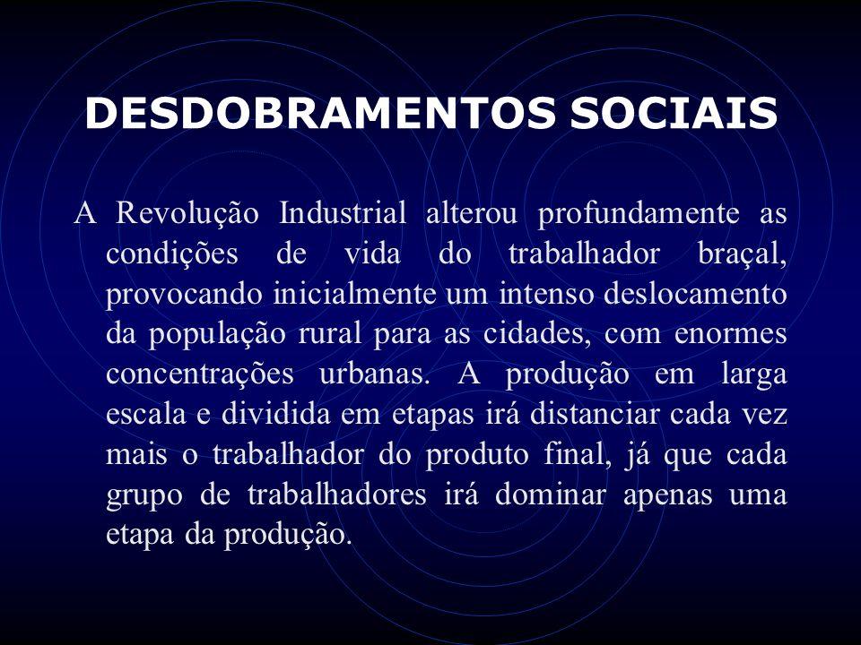 DESDOBRAMENTOS SOCIAIS A Revolução Industrial alterou profundamente as condições de vida do trabalhador braçal, provocando inicialmente um intenso des