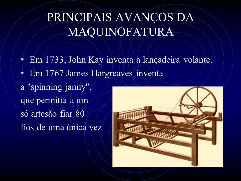 PRINCIPAIS AVANÇOS DA MAQUINOFATURA Em 1733, John Kay inventa a lançadeira volante. Em 1767 James Hargreaves inventa a