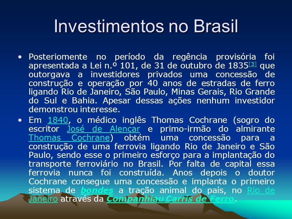 Investimentos no Brasil Posteriomente no período da regência provisória foi apresentada a Lei n.º 101, de 31 de outubro de 1835 [3] que outorgava a in