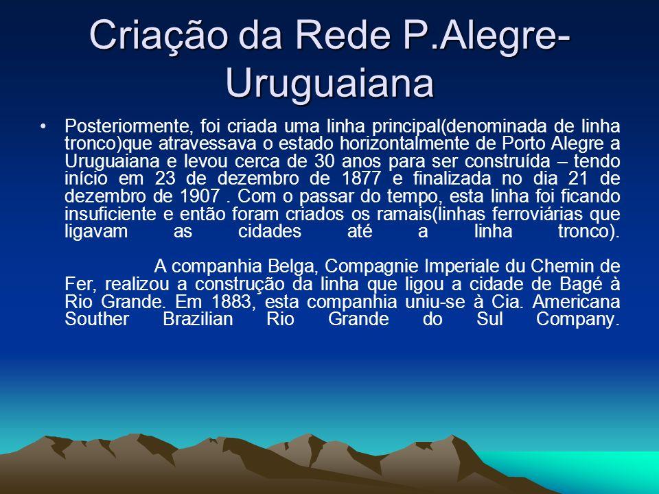 Criação da Rede P.Alegre- Uruguaiana Posteriormente, foi criada uma linha principal(denominada de linha tronco)que atravessava o estado horizontalment