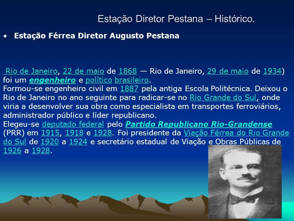 Estação Diretor Pestana – Histórico. Estação Férrea Diretor Augusto Pestana Rio de Janeiro Rio de Janeiro, 22 de maio de 1868 Rio de Janeiro, 29 de ma