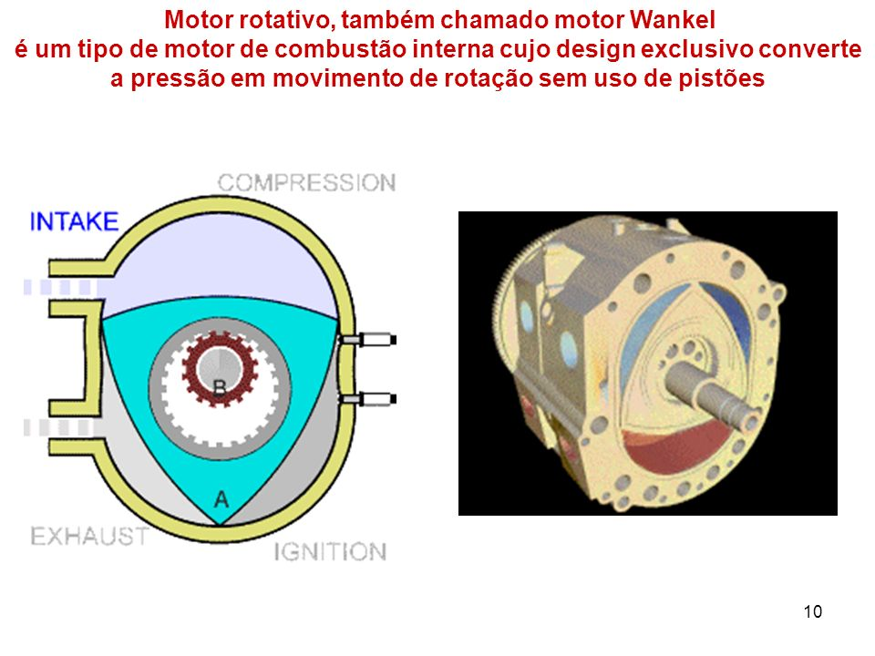 10 Motor rotativo, também chamado motor Wankel é um tipo de motor de combustão interna cujo design exclusivo converte a pressão em movimento de rotaçã