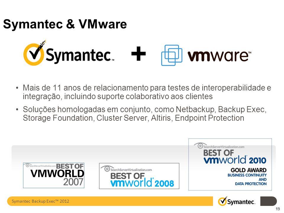 Symantec & VMware Mais de 11 anos de relacionamento para testes de interoperabilidade e integração, incluindo suporte colaborativo aos clientes Soluçõ