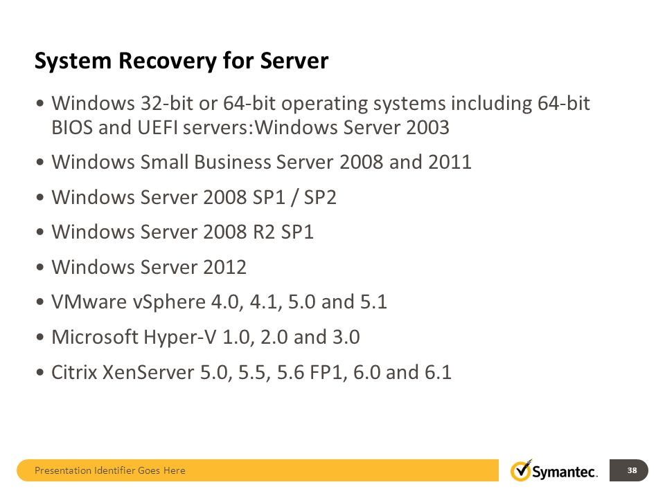 System Recovery for Server Windows 32-bit or 64-bit operating systems including 64-bit BIOS and UEFI servers:Windows Server 2003 Windows Small Busines