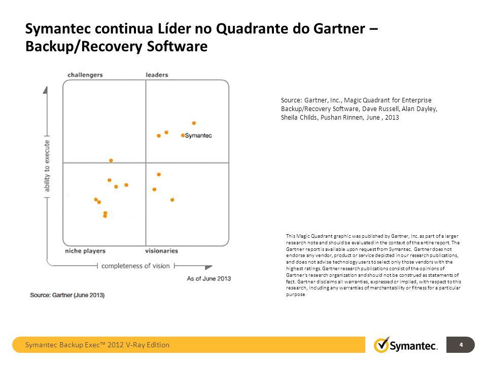 Symantec continua Líder no Quadrante do Gartner – Backup/Recovery Software Symantec Backup Exec 2012 V-Ray Edition 4 This Magic Quadrant graphic was published by Gartner, Inc.