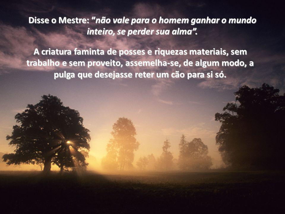 Disse o Mestre: nãonão vale para o homem ganhar o mundo inteiro, se perder sua alma.