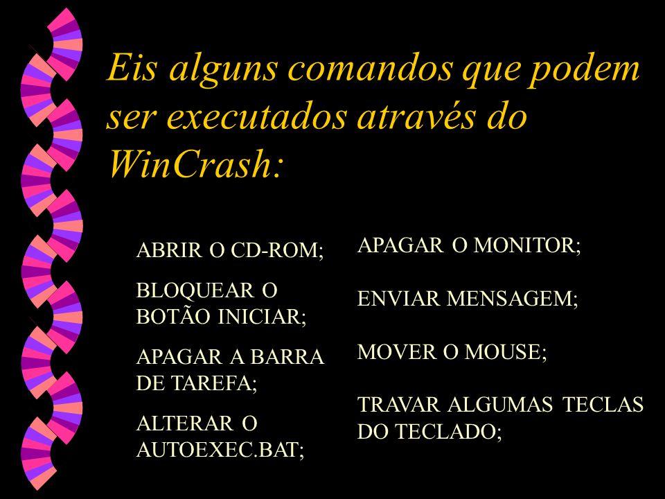 Eis alguns comandos que podem ser executados através do WinCrash: ABRIR O CD-ROM; BLOQUEAR O BOTÃO INICIAR; APAGAR A BARRA DE TAREFA; ALTERAR O AUTOEXEC.BAT; APAGAR O MONITOR; ENVIAR MENSAGEM; MOVER O MOUSE; TRAVAR ALGUMAS TECLAS DO TECLADO;