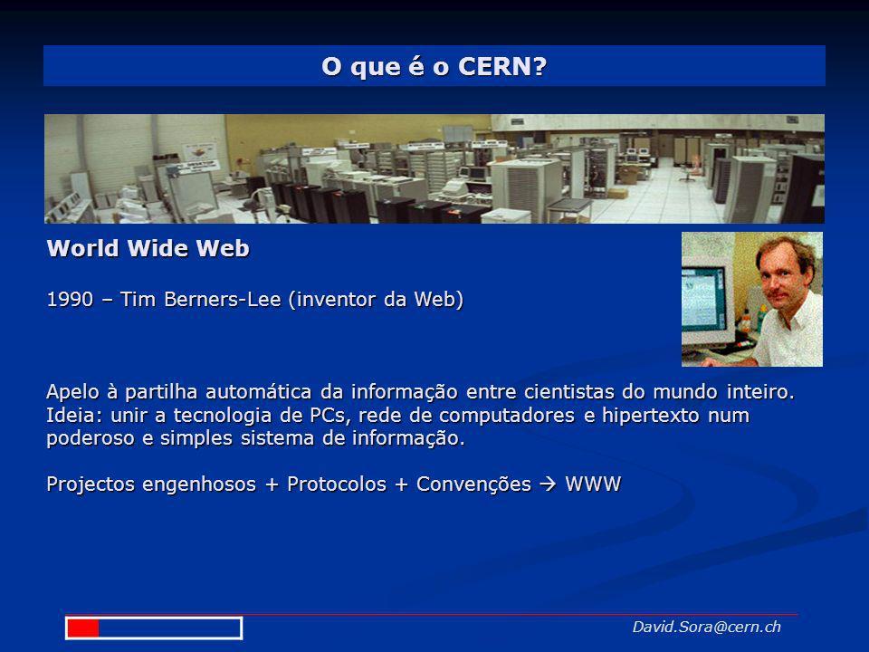 O que é o CERN? David.Sora@cern.ch World Wide Web 1990 – Tim Berners-Lee (inventor da Web) Apelo à partilha automática da informação entre cientistas