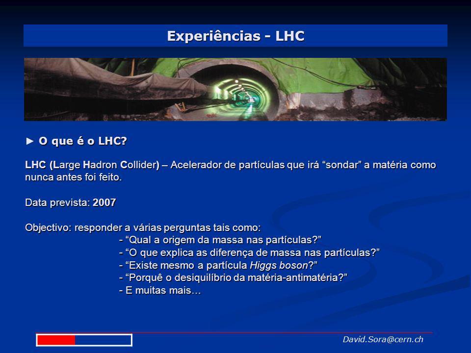Experiências - LHC David.Sora@cern.ch O que é o LHC? LHC (Large Hadron Collider) –Acelerador de partículas que irá sondar a matéria como nunca antes f