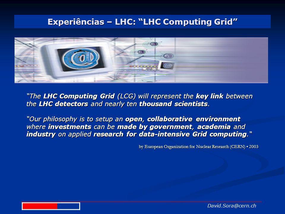 Experiências – LHC: LHC Computing Grid David.Sora@cern.ch The LHC Computing Grid (LCG) will represent the key link between the LHC detectors and nearl