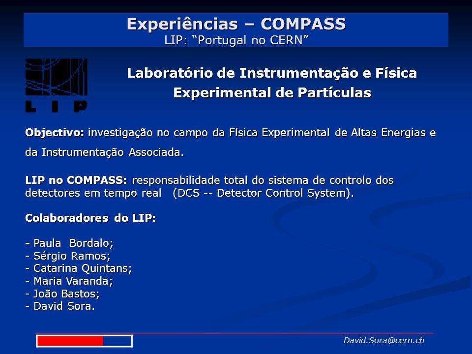 Experiências – COMPASS LIP: Portugal no CERN David.Sora@cern.ch Objectivo:investigação no campo da Física Experimental de Altas Energias e da Instrume