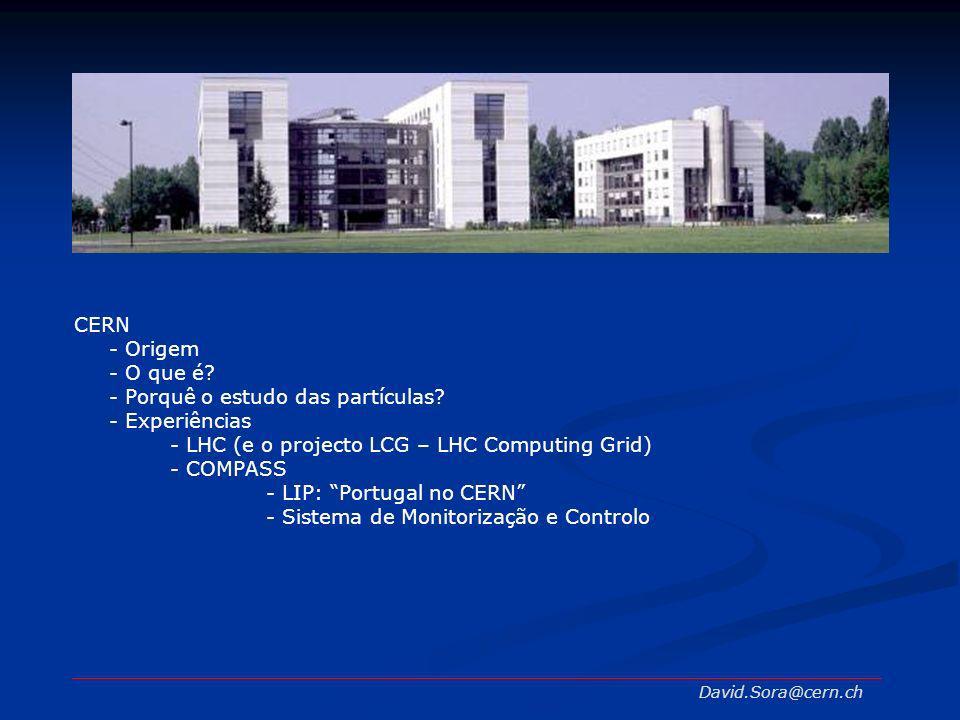 CERN - Origem - O que é? - Porquê o estudo das partículas? - Experiências - LHC (e o projecto LCG – LHC Computing Grid) - COMPASS - LIP: Portugal no C