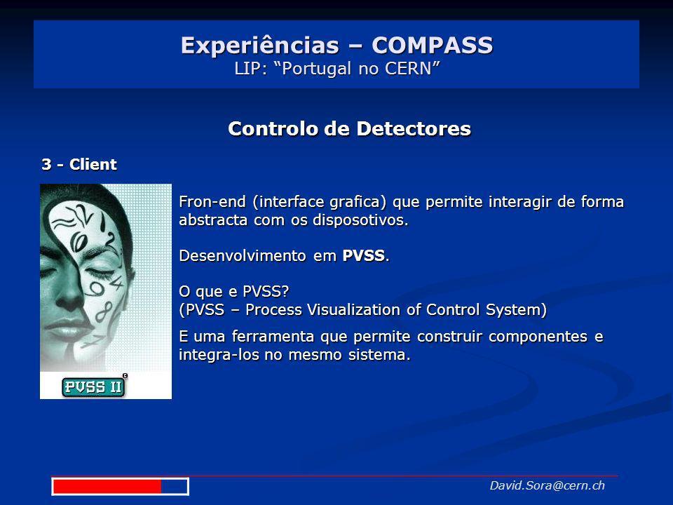 Experiências – COMPASS LIP: Portugal no CERN David.Sora@cern.ch Controlo de Detectores 3 - Client Fron-end (interface grafica) que permite interagir d