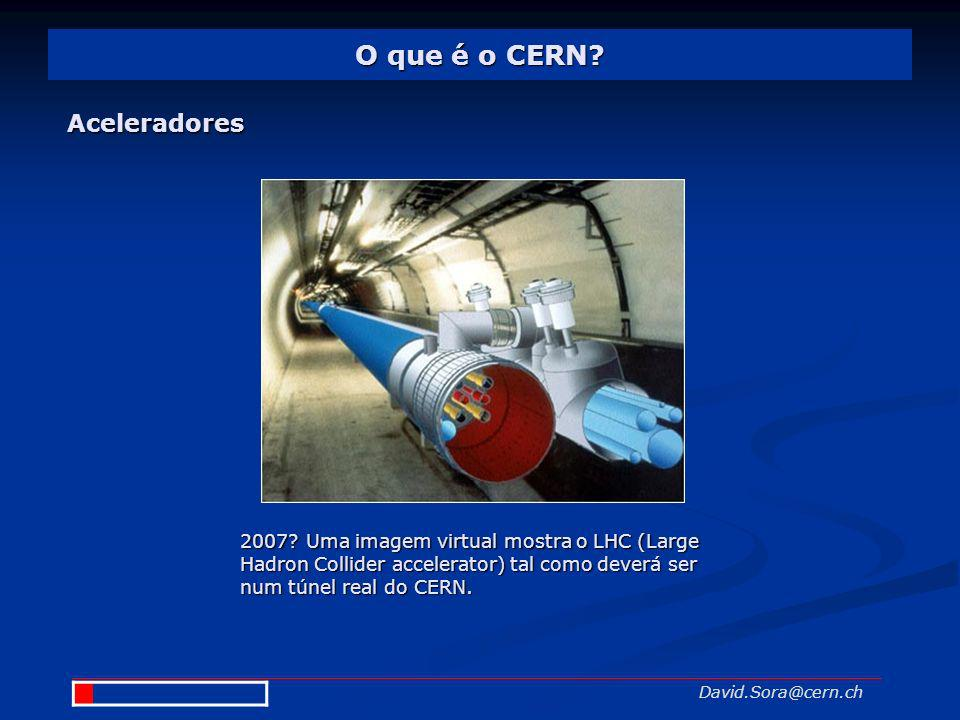 O que é o CERN? David.Sora@cern.ch Aceleradores 2007?Uma imagem virtual mostra o LHC (Large Hadron Collider accelerator) tal como deverá ser num túnel