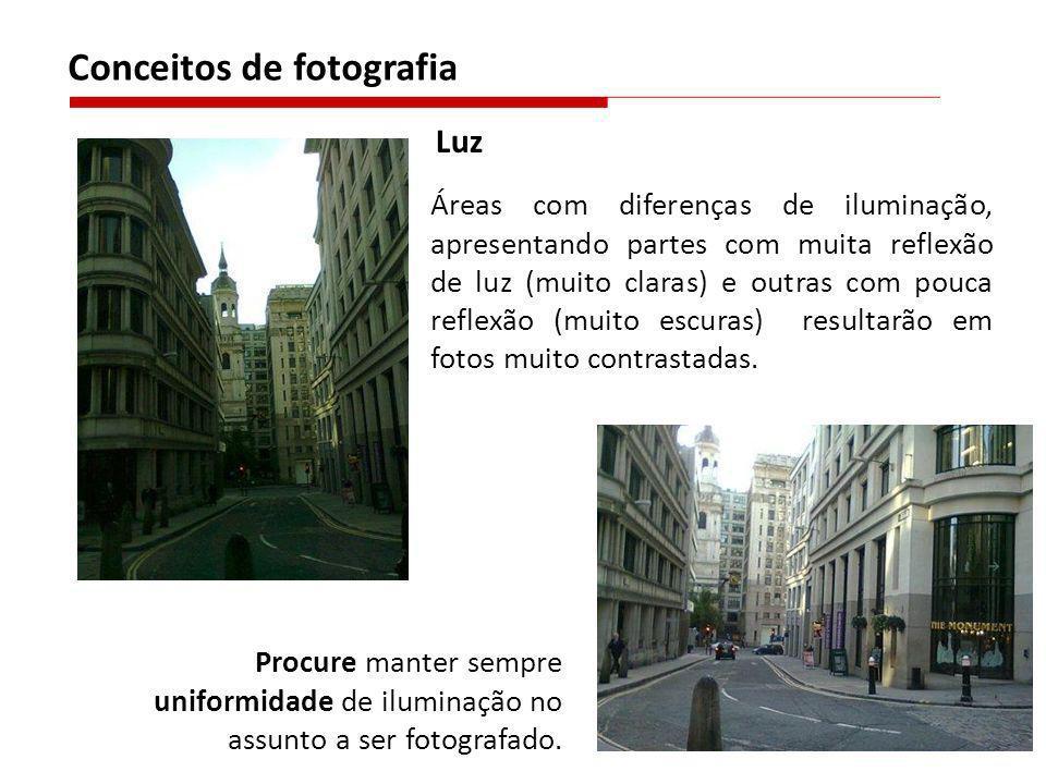 Áreas com diferenças de iluminação, apresentando partes com muita reflexão de luz (muito claras) e outras com pouca reflexão (muito escuras) resultarã