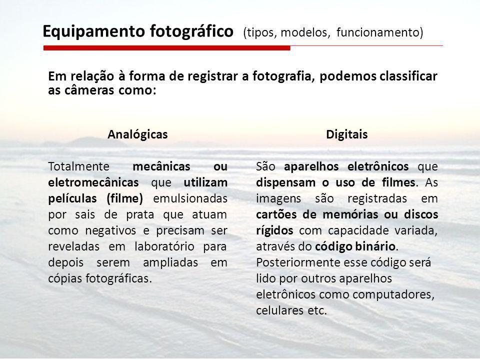 Em relação à forma de registrar a fotografia, podemos classificar as câmeras como: Equipamento fotográfico (tipos, modelos, funcionamento) Analógicas