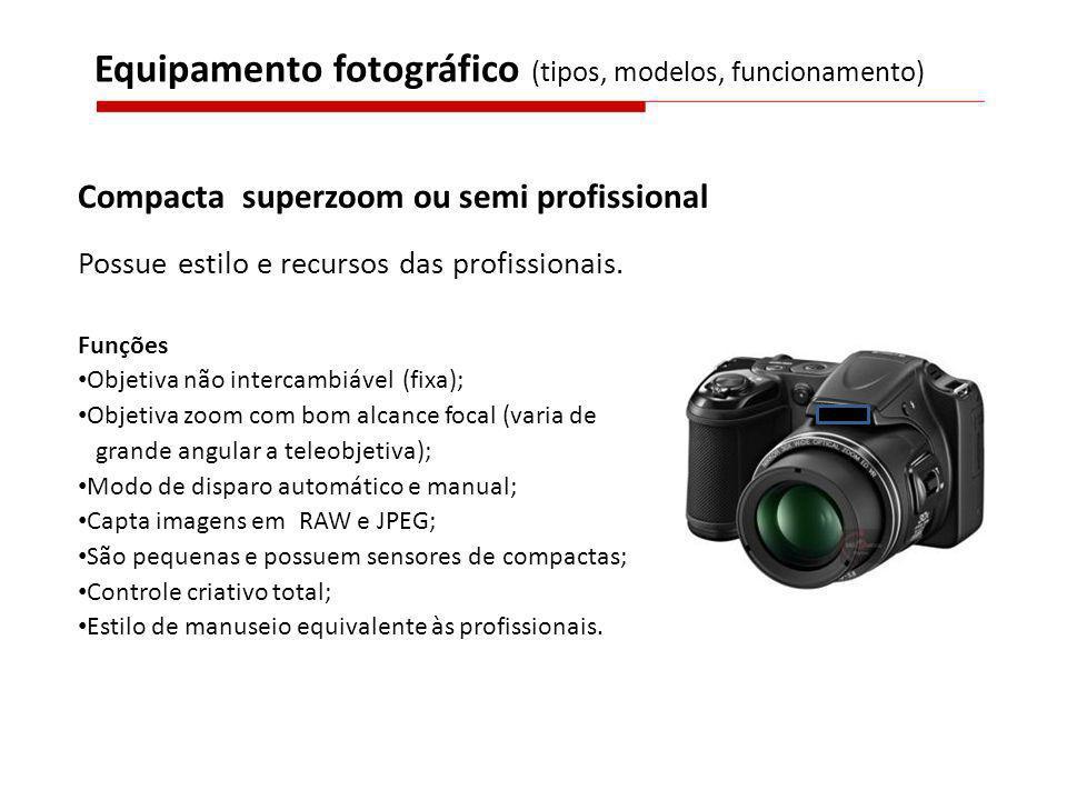 Compacta superzoom ou semi profissional Possue estilo e recursos das profissionais. Funções Objetiva não intercambiável (fixa); Objetiva zoom com bom