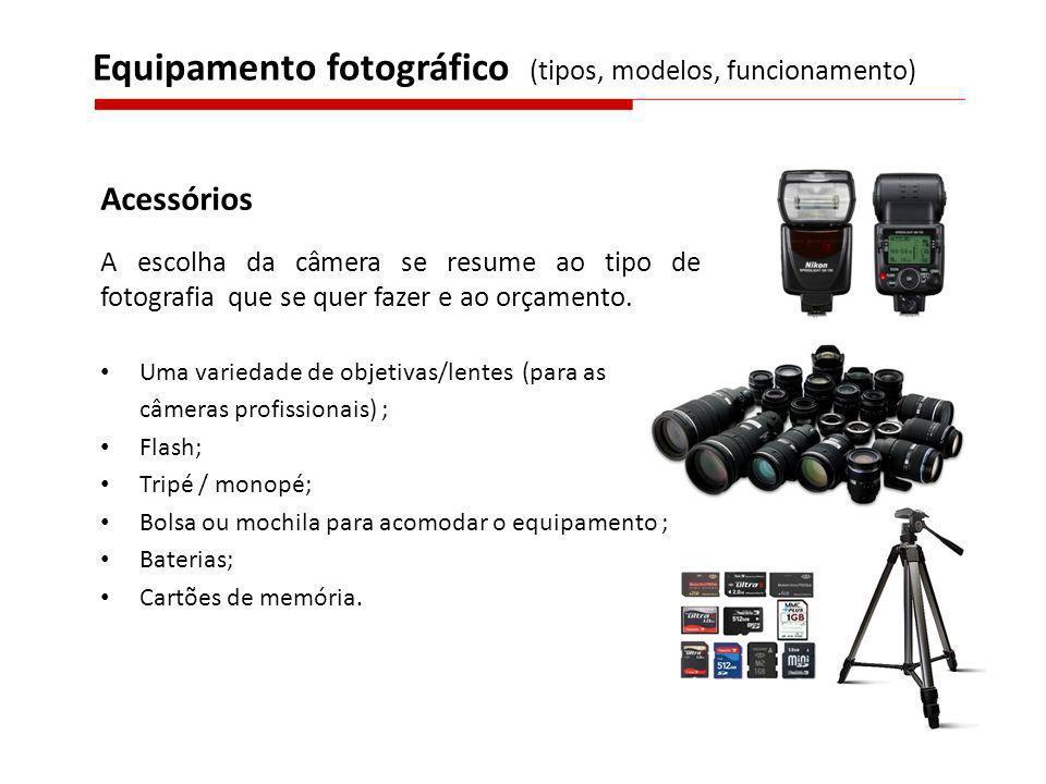Acessórios A escolha da câmera se resume ao tipo de fotografia que se quer fazer e ao orçamento. Uma variedade de objetivas/lentes (para as câmeras pr