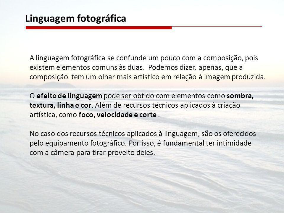 A linguagem fotográfica se confunde um pouco com a composição, pois existem elementos comuns às duas. Podemos dizer, apenas, que a composição tem um o