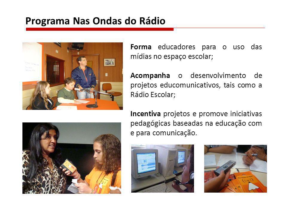 Forma educadores para o uso das mídias no espaço escolar; Acompanha o desenvolvimento de projetos educomunicativos, tais como a Rádio Escolar; Incenti