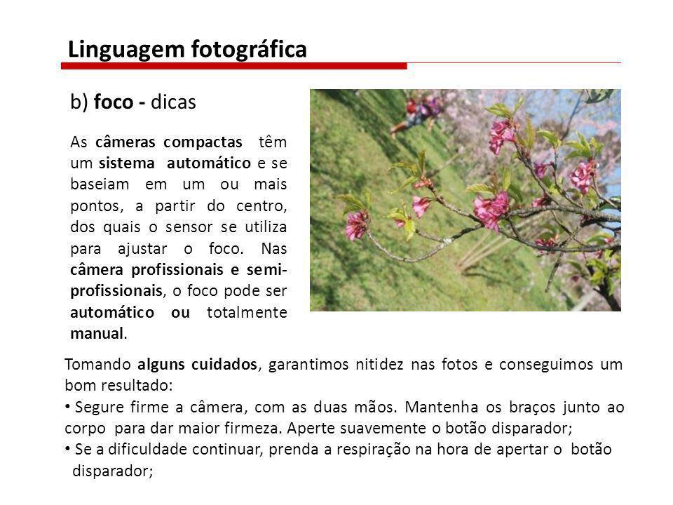b) foco - dicas As câmeras compactas têm um sistema automático e se baseiam em um ou mais pontos, a partir do centro, dos quais o sensor se utiliza pa