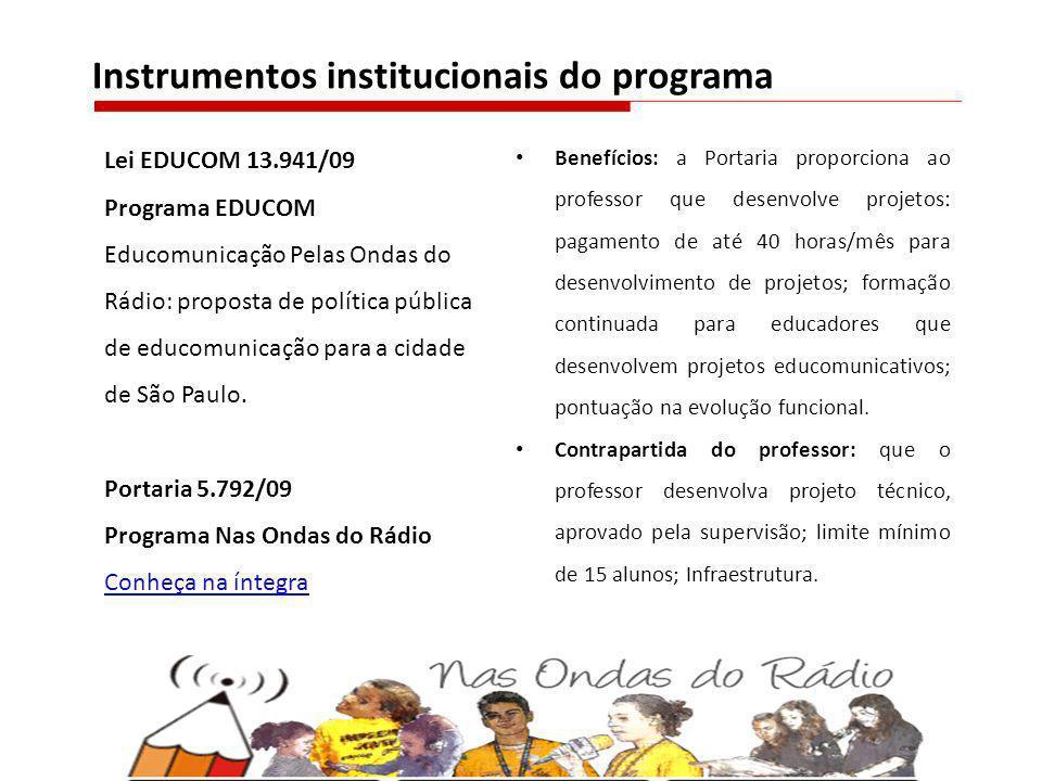 Lei EDUCOM 13.941/09 Programa EDUCOM Educomunicação Pelas Ondas do Rádio: proposta de política pública de educomunicação para a cidade de São Paulo. P
