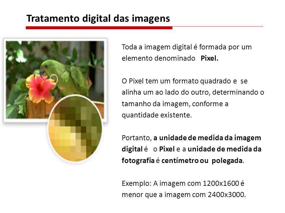 Toda a imagem digital é formada por um elemento denominado Pixel. O Pixel tem um formato quadrado e se alinha um ao lado do outro, determinando o tama