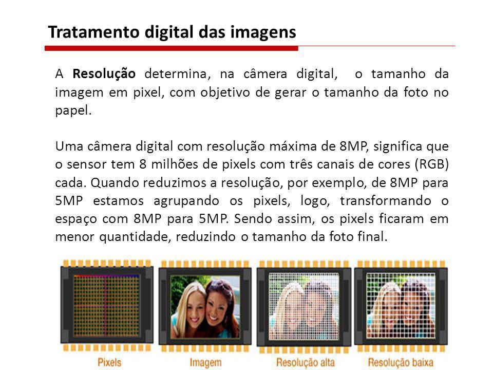 A Resolução determina, na câmera digital, o tamanho da imagem em pixel, com objetivo de gerar o tamanho da foto no papel. Uma câmera digital com resol