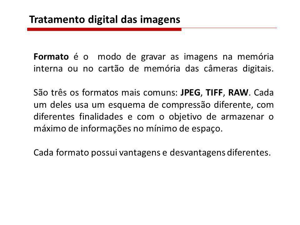 Formato é o modo de gravar as imagens na memória interna ou no cartão de memória das câmeras digitais. São três os formatos mais comuns: JPEG, TIFF, R