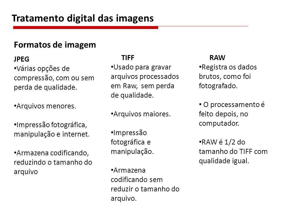 JPEG Várias opções de compressão, com ou sem perda de qualidade. Arquivos menores. Impressão fotográfica, manipulação e internet. Armazena codificando