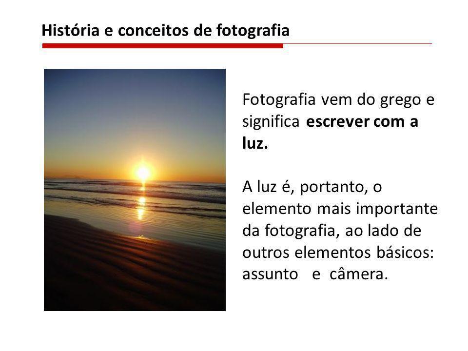 Fotografia vem do grego e significa escrever com a luz. A luz é, portanto, o elemento mais importante da fotografia, ao lado de outros elementos básic