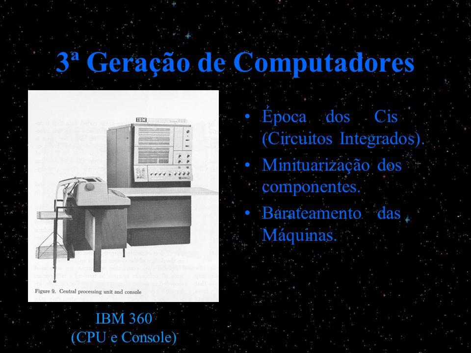 3ª Geração de Computadores Época dos Cis (Circuitos Integrados). Minituarização dos componentes. Barateamento das Máquinas. IBM 360 (CPU e Console)