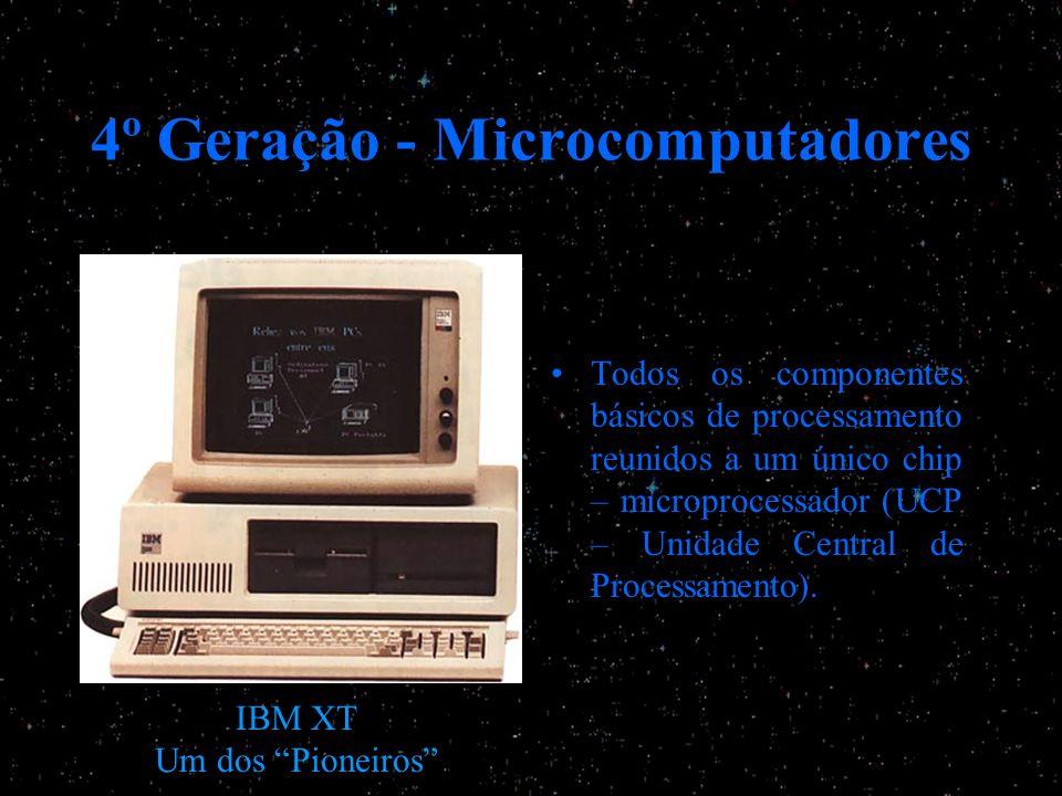 4º Geração - Microcomputadores Todos os componentes básicos de processamento reunidos a um único chip – microprocessador (UCP – Unidade Central de Pro