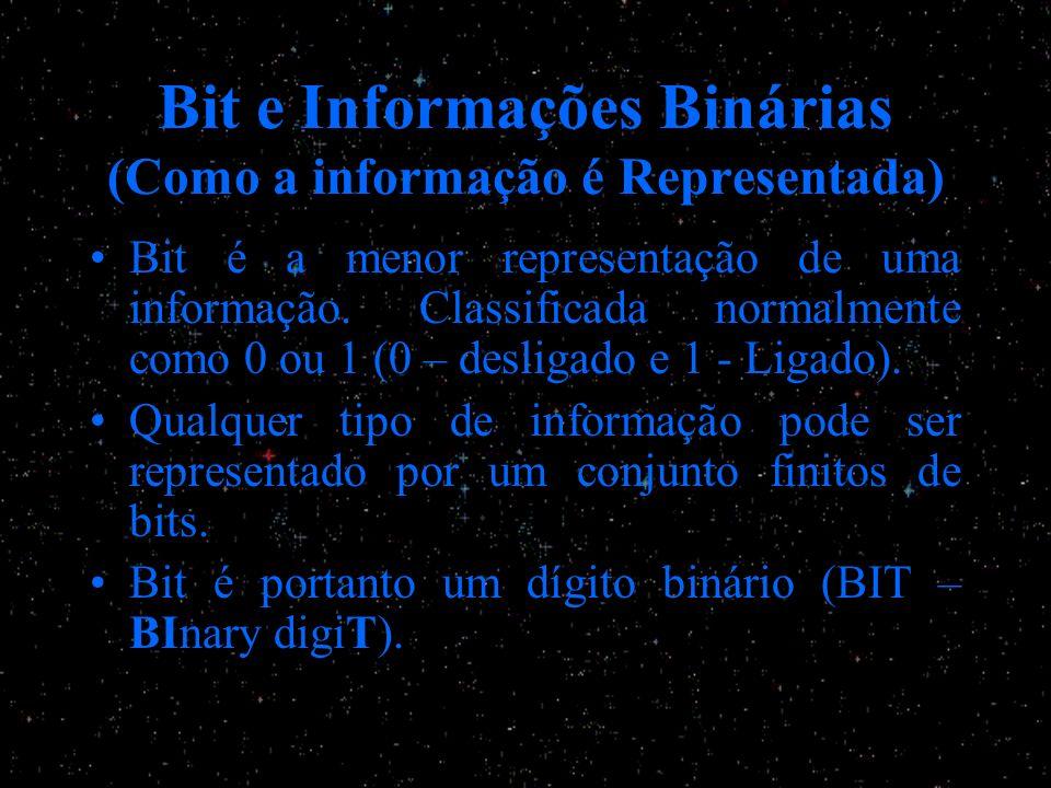Bit e Informações Binárias (Como a informação é Representada) Bit é a menor representação de uma informação. Classificada normalmente como 0 ou 1 (0 –
