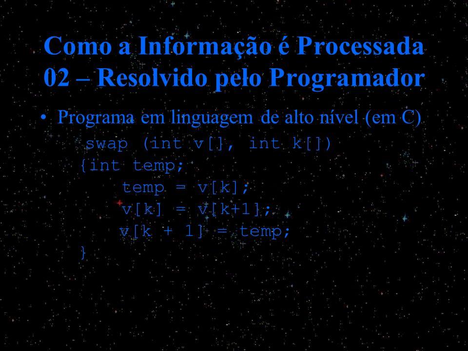 Como a Informação é Processada 02 – Resolvido pelo Programador Programa em linguagem de alto nível (em C) swap (int v[], int k[]) {int temp; temp = v[