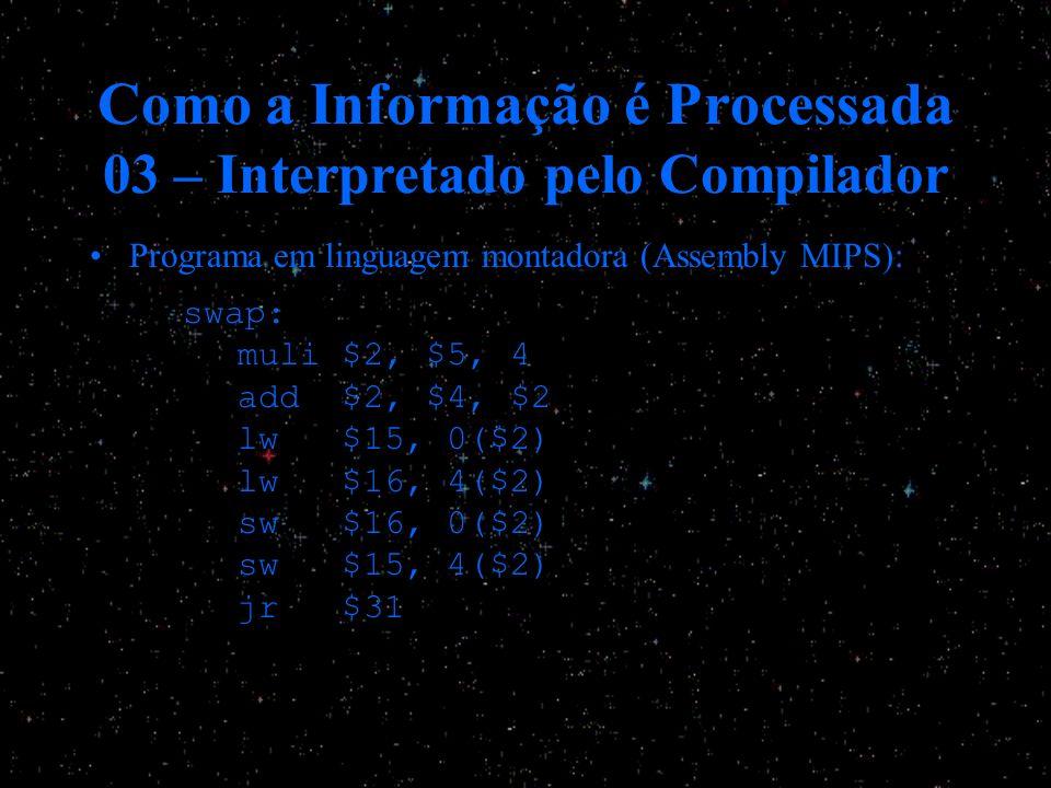 Como a Informação é Processada 03 – Interpretado pelo Compilador Programa em linguagem montadora (Assembly MIPS): s wap: muli $2, $5, 4 add $2, $4, $2