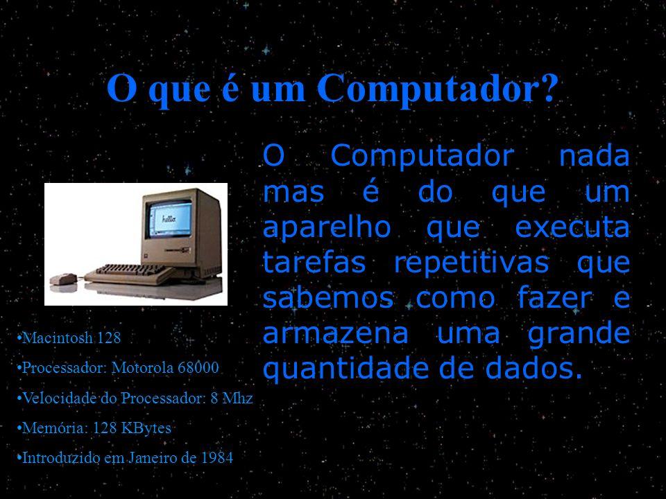 O que é um Computador? O Computador nada mas é do que um aparelho que executa tarefas repetitivas que sabemos como fazer e armazena uma grande quantid