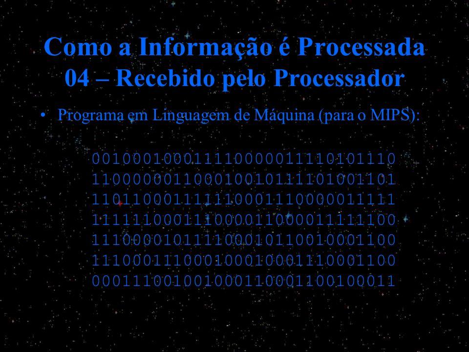 Como a Informação é Processada 04 – Recebido pelo Processador Programa em Linguagem de Máquina (para o MIPS): 001000100011110000011110101110 110000001
